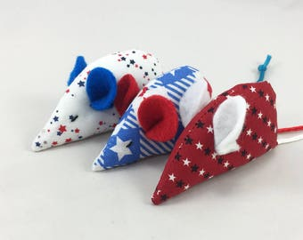 Stars, Spangled, Stripes Cat Toy:Set of Three, Red, White, n' Blue Ears and Tails, Organic Catnip, Mouse Toy