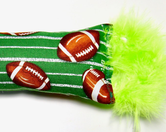 Featured listing image: Football Cat Toy: Light Green Fluffy Feathers, Organic Catnip, Kicker Toy