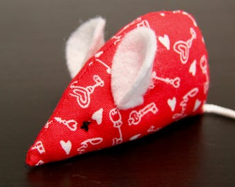 Hearts & Keys Cat Toy: White Ears, White Tail, Organic Catnip, Mouse Toy, Valentines
