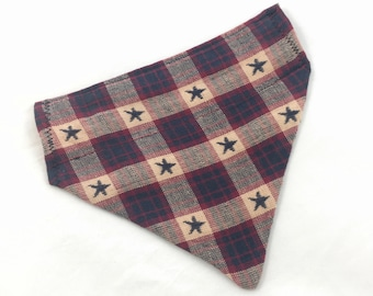 Reversible Americana cat, puppy or small dog over the collar bandanna, bandanna for small pet