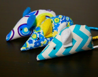 Spring Blues & Yellow Collection: Set of Three, Yellow/Blue/White Ears and Tails, Organic Catnip, Mouse Cat Toy