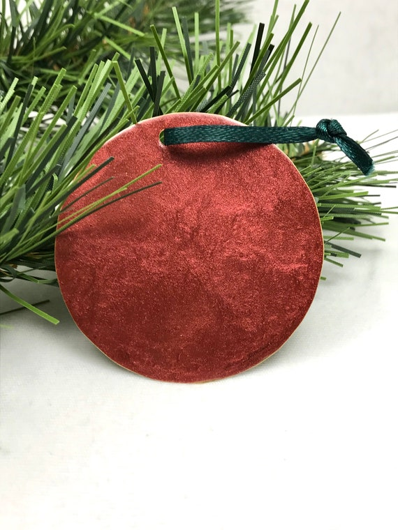 Christmas Ornament Painted Red Circle Ornaments Christmas Etsy