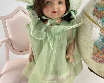 """Rare Vintage Effanbee """"RoseMary"""" Walkie Talkie 1930's Doll with Multiple Vintage Handmade Outfits"""
