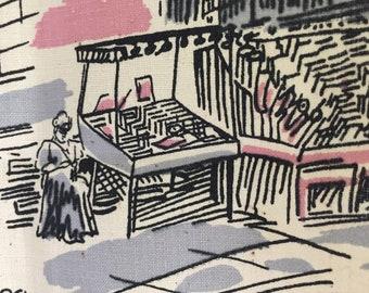 Elegant Vintage Tea Towel, Paris Street Scenes, City of Light, Pink, Black Grey, Mint, NOS, Eiffel Towel, Bookseller, Cafe, Bread Wine