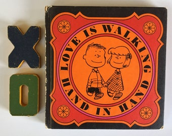 Love is Walking Hand in Hand, Peanuts Square Book, 1965 First Edition, Orange Red Pink Black, Valentines Gift, Display, MCM Bookshelf,
