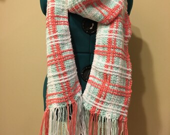 Pastel Plaid Crochet Scarf-Mint, Coral, and White with Pompoms