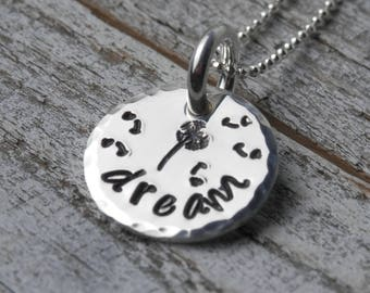 Handstamped Dream Necklace...Dream Dandelion Necklace...Dream Necklace Sterling Silver