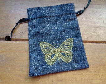 Embroidered Fantastical Butterfly Tarot, Rune or Magical Purpose Bag