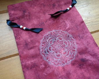 Embroidered  Mehndi Iska Mandala Lined Storage or Gathering Bag