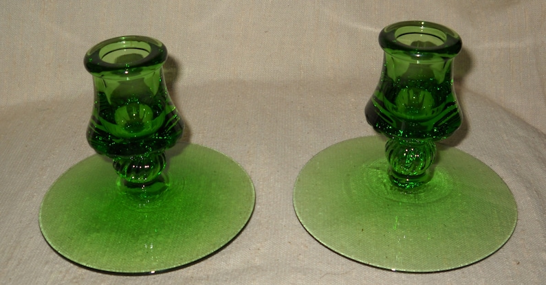 Bagley/sowerby/davidson Pair Of Green Glass Candle Holders A Wide Selection Of Colours And Designs
