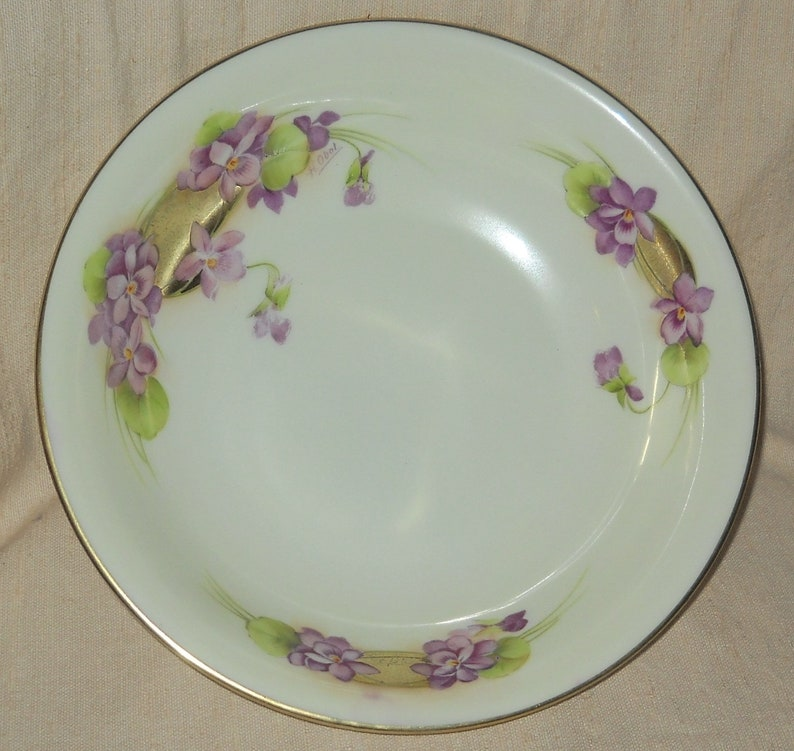 Tirschenreuth Bavaria German Violets Fruit or Serving Bowl Hand Painted