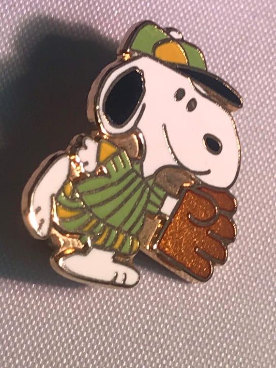 Vintage Snoopy Pin Aviva Baseball Snoopy Brooch