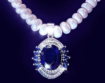 Blue Tanzanite pearl necklace, real pearl necklace, pearl choker, Elegant necklace, fine jewelry, Victorian necklace, wedding necklace, OOAK