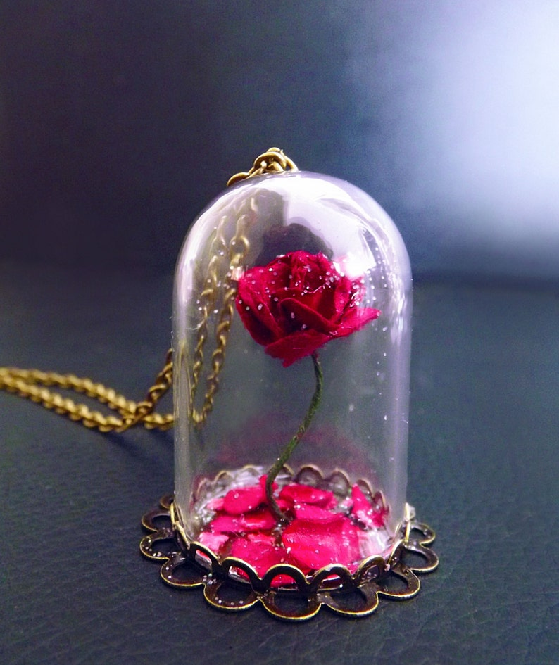 Beauty and the beast rose rose vial necklace snowglobe image 0