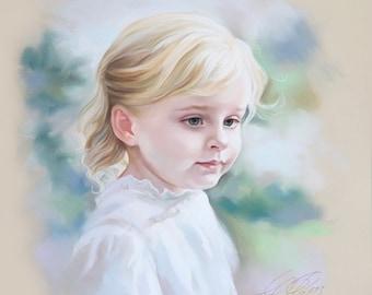 Portrait painting of a young girl, Child portrait, Children portrait.
