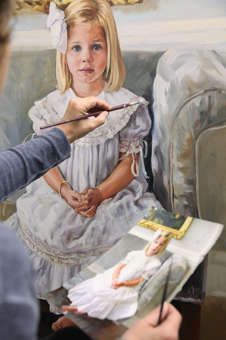 Custom Oil portrait Alla Prima portrait in oil of a little girl, Painting portrait of a girl