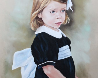Pastel portrait painting of a girl