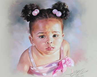 Soft Pastel Portrait Painting of a little girl in pink