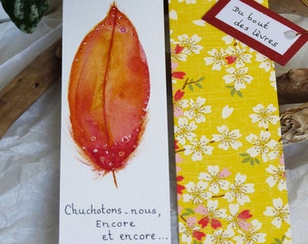 """Duo Brand-page Plume, watercolor, orange yellow, """"Chuchotons..."""", original drawing and Japanese paper"""