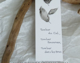 """Bookmark Feather, watercolor, Black Grey, """"Falling from the Sky..."""", original drawing, love message"""