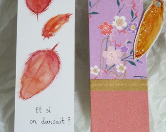 """Duo Bookmark Feather, watercolor, pink, purple """"There now, and if we danced..."""", original drawing and Japanese paper"""
