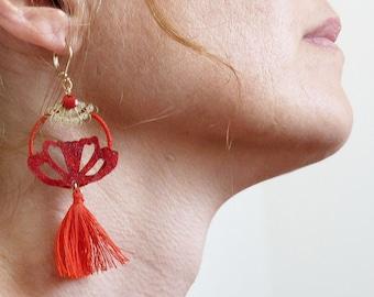 Pomerons, red earrings, textile jewelry, Boho, Boho chic, Gipsy, Art Deco, lotus, butterfly, fan