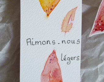 """Duo Bookmark Feather, watercolor, pink, yellow, """"Come, Let's love us light..."""", original drawing"""