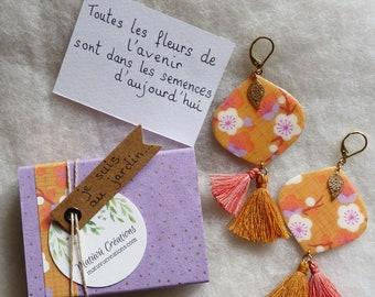 Large long paper earrings, small box, Japanese washi paper, plum blossoms, caramel and coral, Fleuri, mini-box