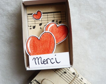 """Mini -message box """"Thank you"""", stationery, poetic object, recognition, love, friendship, thanks"""