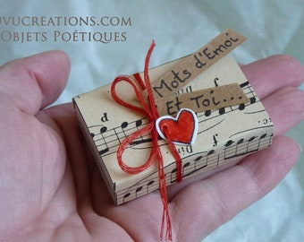 """Small poetry box """"Mots d'Emoi.. and you,"""" stationery, poetic object, loving message"""