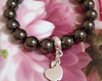 Sweet Hematite bracelet with apple charm