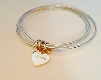 Sweet Bangle Trio with personalised heart charm.