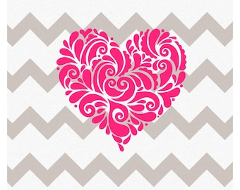 Filigree Heart Decal, Vinyl Filigree Heart Decal, Heart Decal, Vinyl Heart Decal, Heart YETI decal, Filigree YETI Decal