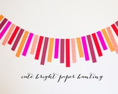 77cm long paper strip bunting/garland. Bright, colourful and fun. Party decoration - Great bright colours to choose from.