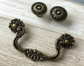 3.75 quot Vintage Style Bail Drawer Pulls Handle Knob Floral Antique Bronze Drop Cabinet Pull Swing Handles Dresser Pulls 96 mm LynnsGraceland