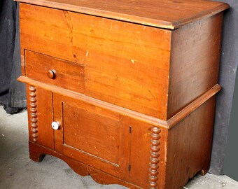 Good Antique Vintage SOLID Wood Wooden Storage Cabinet Blanket Chest Commode Dry  Sink