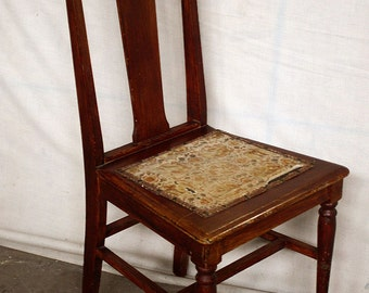 Beau Antique Vintage Solid Wood Wooden Dining Side Accent Chair Floral Fabric  Seat