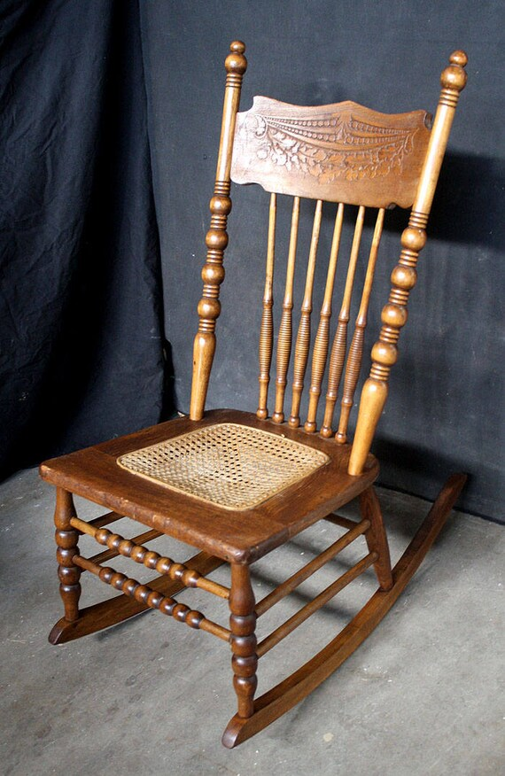 image 0 - Vintage Antique SOLID Wood Wooden Spindle Back Caned Seat Etsy
