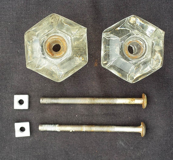2 Pair aval Vintage Antique Glass Drawer Cabinet Furniture Door Knob Pull Handle