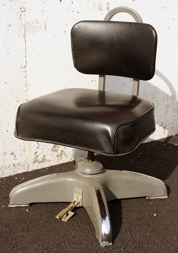 Miraculous Vintage Steel Metal Vinyl Machinist Industrial Office Rocking Swivel Chair Stool Ncnpc Chair Design For Home Ncnpcorg