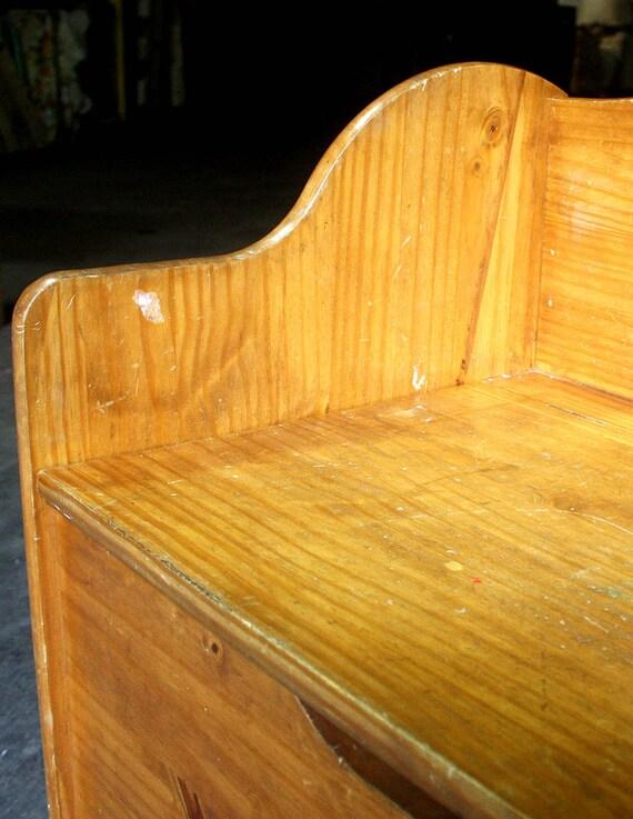 Sensational Vintage Antique Solid Pine Wood Wooden Storage Bench Cabinet Child Kid Toy Chest Uwap Interior Chair Design Uwaporg