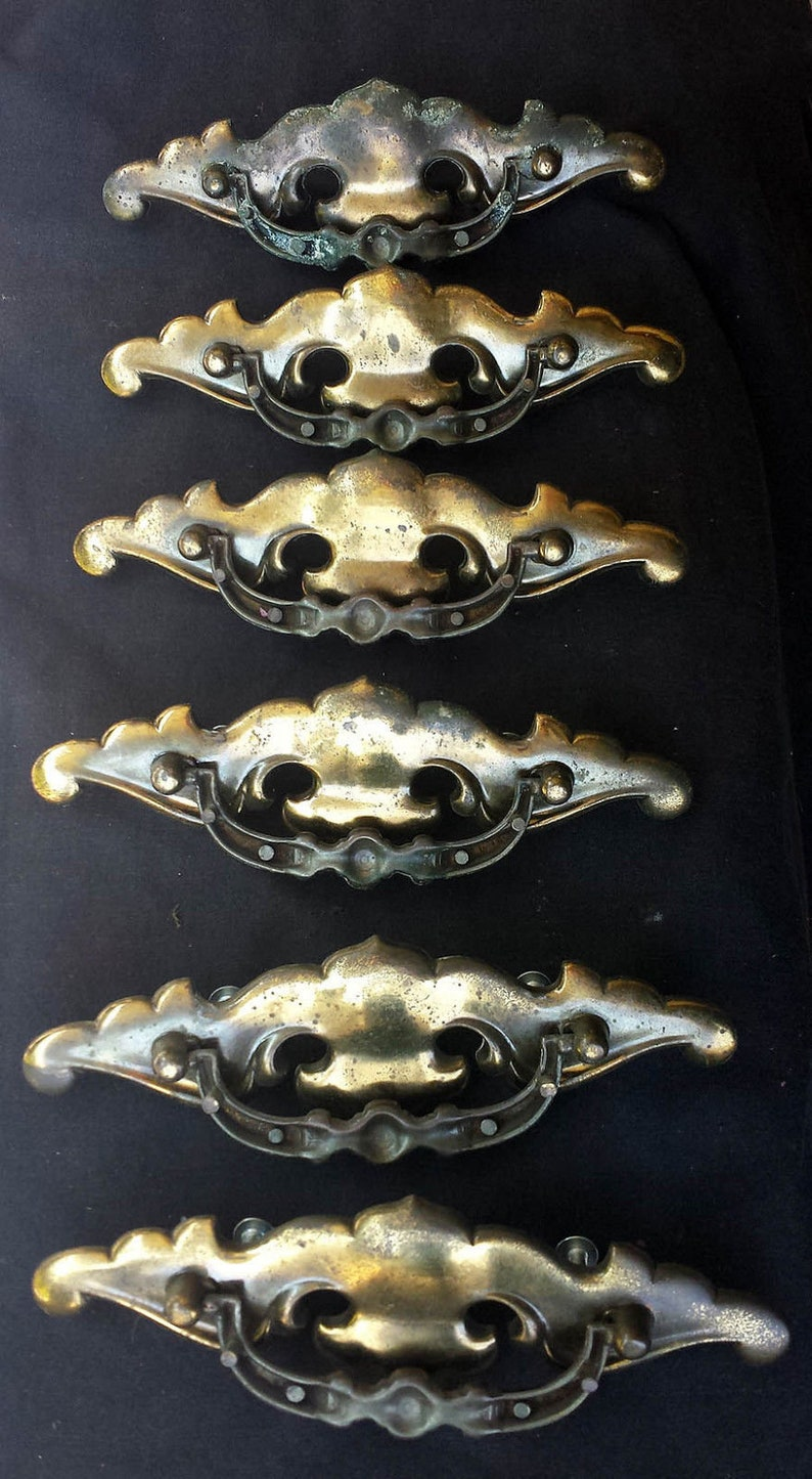 3 avail Pair Vintage Colonial Brass Dresser Chest Drawer Furniture Pulls Handles