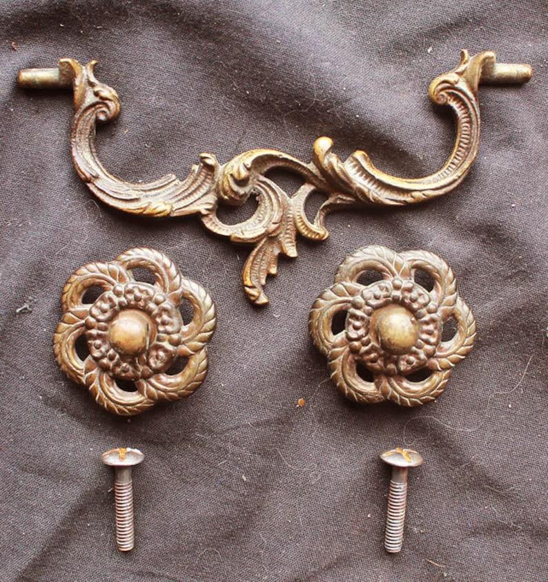 3 avail Antique Vintage Art Nouveau SOLID Brass Drawer Cabinet Furniture  Pulls Handles