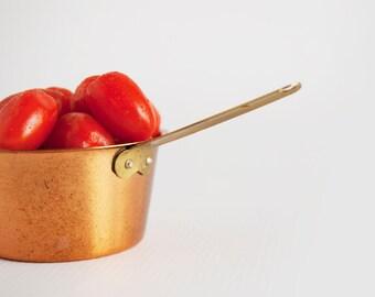 Vintage Mini Copper Lined Aluminum Colander Food Photography Blog Props