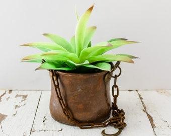Vintage Antique Hammered Copper Hanging Flower Pot Basket Planter