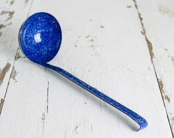 Vintage Antique Blue and White Speckled Enamelware Large Ladle Spoon