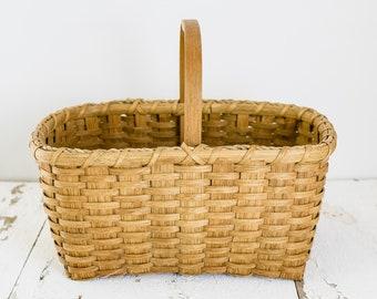 Vintage Antique Wicker Basket with Handle