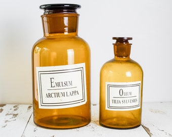 Set of Two (2) Vintage Antique Large Amber Apothecary Potion Jars Bottles Pharmacy Farmhouse Décor
