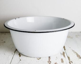 Vintage White Black Large Enamelware Basin Bowl Industrial Modern Farmhouse Décor