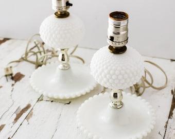 Vintage Antique White Hobnail Milk Glass Milkglass Set of Two (2) Lamps Lights Farmhouse Midcentury Modern